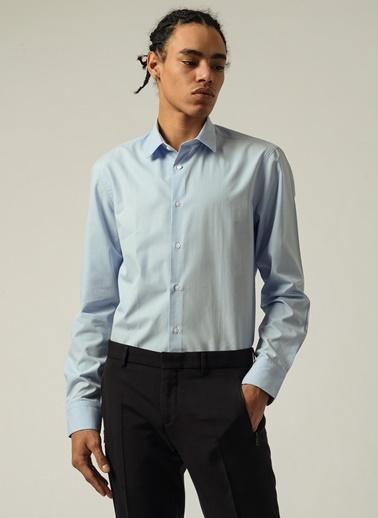 People By Fabrika Erkek Düğmesiz Yaka  Gömlek PFESS20GM0043 Mavi